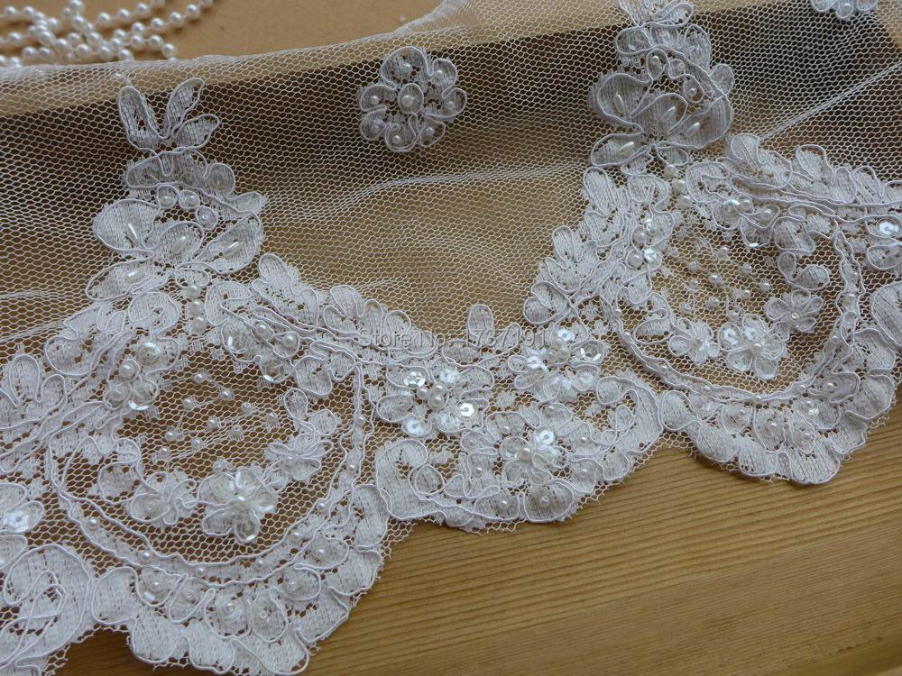 Bridal veils scalloped lace off white alencon lace trim for Wedding dress trim beading