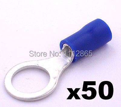50x Blue 8.4mm Insulated Ring Crimp Connector Terminals Electrical Cable/ Wiring(China (Mainland))