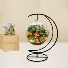 Nuovo 10 cm handmade vaso palla cuore luna del ferro del basamento semplice ed elegante vetro appeso pianta vaso della decorazione della casa di halloween(China (Mainland))