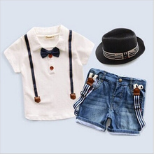 2016 new kids clothing set baby boy cotton t shirt short pants children set for summer boy gentleman clothes fits 2-8T