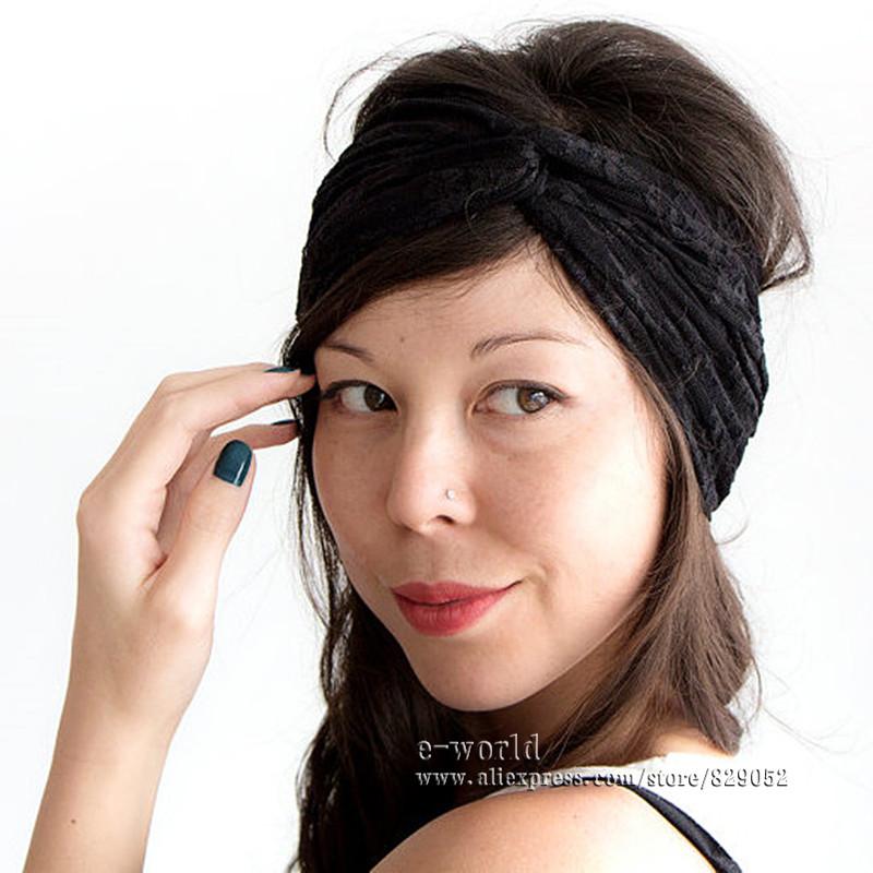 60 pieces Stretchy Lace Turban Headbands for Women Twist Headband Bandana Headwrap Headwear Girls Hair Accessories A0392(China (Mainland))