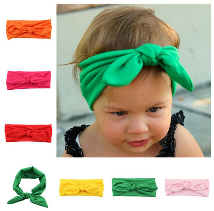 Cute Fashion Infant Baby Girls Hair Accessories Kids Toddler Plain Bows Head band Turban Knot Rabbit Headband Head Wrap Bandage(China (Mainland))