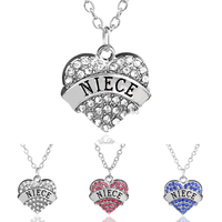 2015 Christmas Gifts Statement Necklace For Women Family Charm Crystal Heart Necklaces Jewelry For Niece Hot