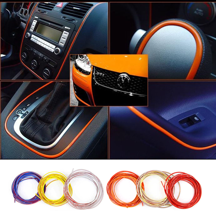 5M /Lot Car Styling indoor Car Interior Exterior Body Modify Decal Mouldings Auto Car Sticker Stickers Decoration Thread 6 Color(China (Mainland))