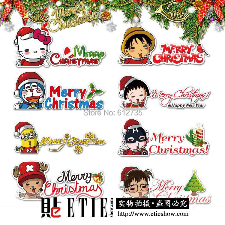 2016 Car Wrap Printed Vinyl Christmas Funny Car Decal Car Body Sticker Fashion Adhesive PVC Switch Stickers, Wall Stickers(China (Mainland))
