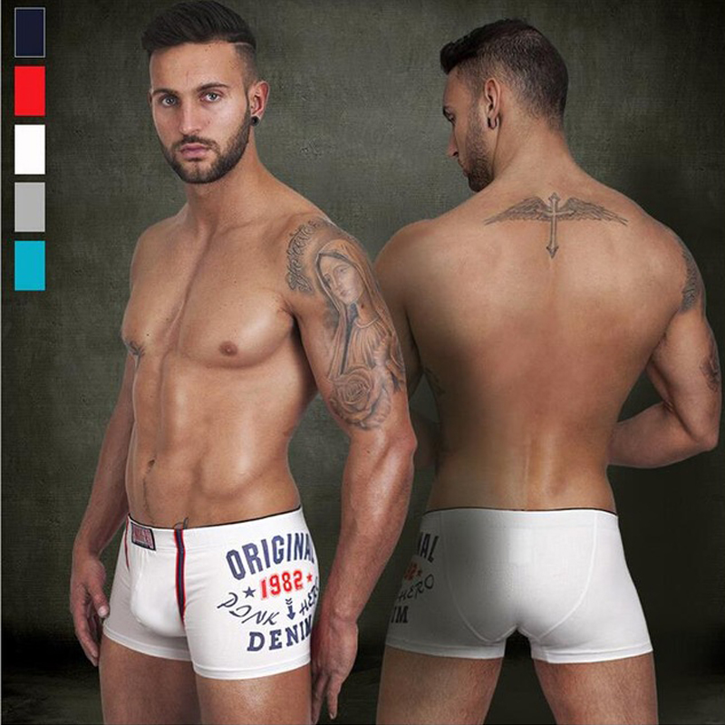 Newly 1982 printed 5colors underwear men high quality cotton comfortble boxer shorts breathable elastic mens underwear boxers(China (Mainland))
