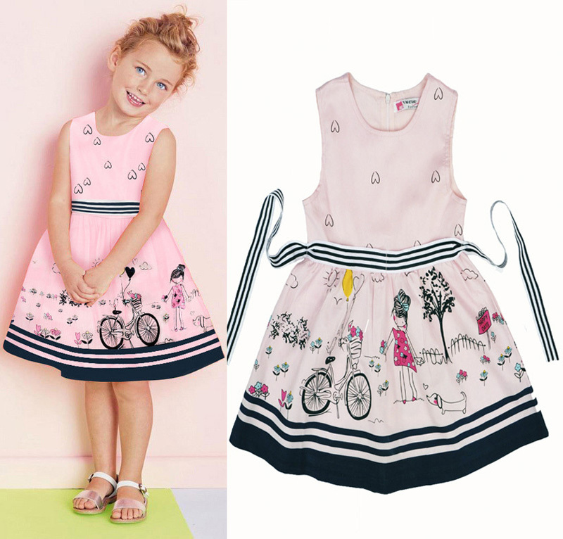 Baby girls dress 2015 summer style cute printing girls dress princess frock children Costumes party lovely robe bebe enfant nina(China (Mainland))