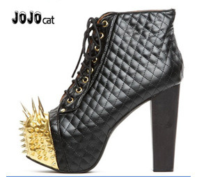 New European style high heeled boots Martin boots rivets color square lace thick bottomed with female