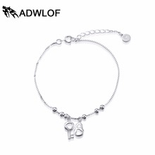 ADWLOF Solid Pure S925 Sterling Silver Bracelets For Women Romantic Heart Lovers Concentric Lock Bracelets & Bangles(China (Mainland))