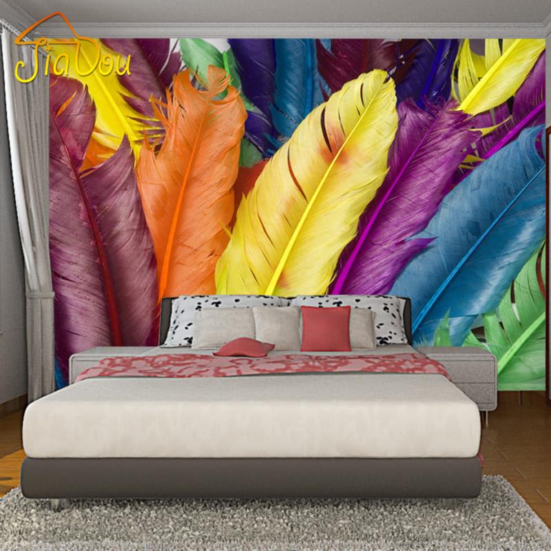 Customized Modern Colourful Feathers Mural Wallpaper 3D Art Full Wall Murals Print Decals Home Decor Photo Wallpaper(China (Mainland))