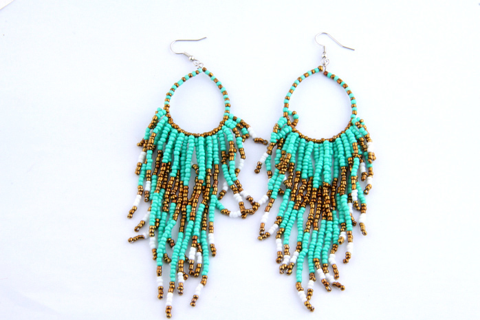 Bohemia Style Handmade Beads Tassel Loop Earrings Ladies,Fashion Turquoise Beaded Tassel Earring,Wedding Crystal Drop Earrings(China (Mainland))