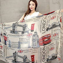 Vintage Style 2016 fall fashion women scarf Euro Fashion British style London Tower Bridge / letter & bus flag printed scarves(China (Mainland))