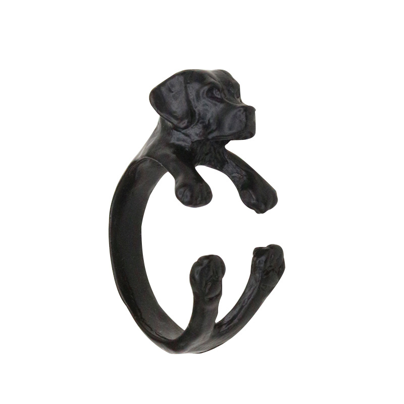 Puppy Dog Rings For Women Men Animal Open Ring Adjustable Accessories Antique Gold Silver Black Fashion Finger Jewelry(China (Mainland))