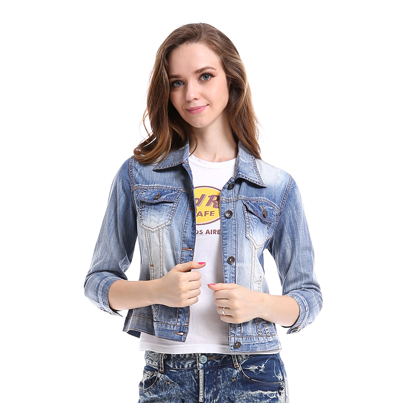 Hole Ripped Pockets Thin Washed Denim Jacket Women 2015 New Autumn Vintage Casual Patchwork Coat Short Outwear Chaquetas Mujer(China (Mainland))