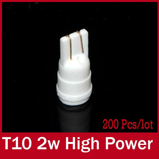 2x T10 W5W Led T10 Led Auto Automotive Parking High Power 2W Ceramic Car Led Light Side Wedge 194 168 White 6000K Socket(China (Mainland))