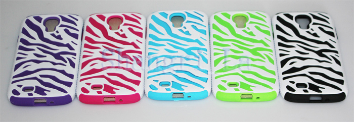 shockproof case for Samsung Galaxy I9500 Silicone soft Zebra case for Galaxy I9500 DHL free shipping(China (Mainland))