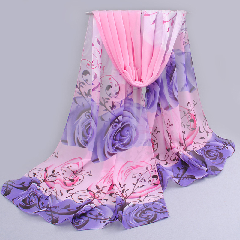 from india promotion 2014 rose print chiffon scarves woman thin shawl turban belt wholesale hijab fashion arabic scarfs wrap qsr(China (Mainland))