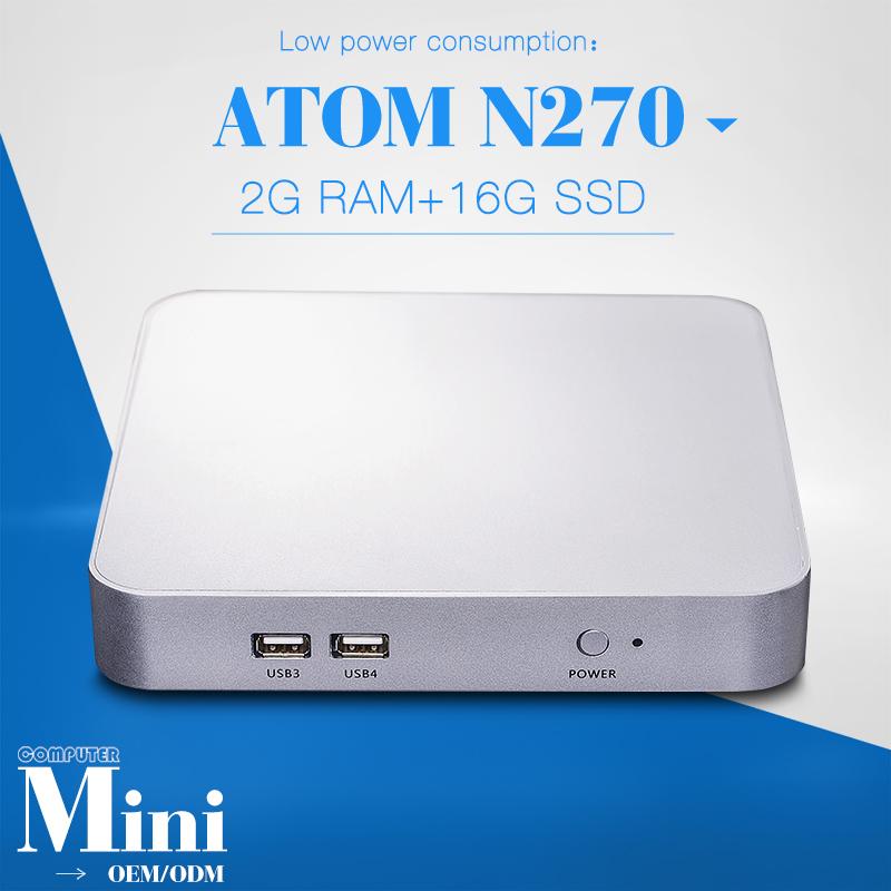 Fanless Mini Itx Computer Multi Computing Linux Mini Pc Vga FOR X-N270L N270 X86 Computer Dual Core 2g Ram 16g SSD(China (Mainland))
