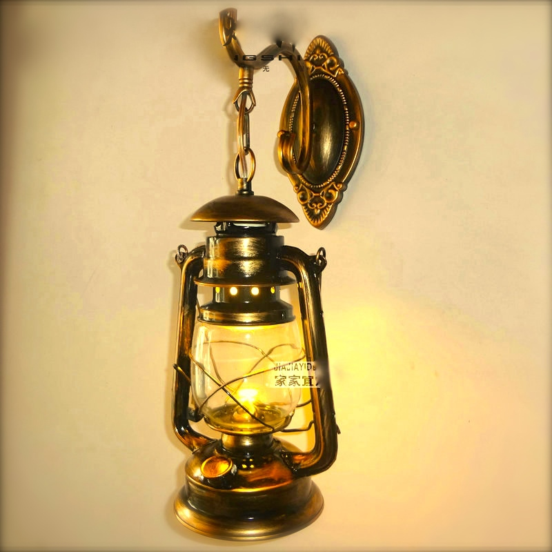 free shipping retro style wall lamps vintage iron glass
