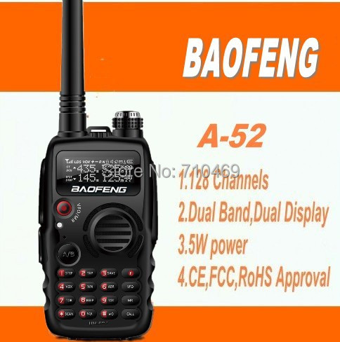 DHL free shipping baofeng A52 A-52 uhf vhf portable dual band two way radio transmitter set best radio walkie talkie 10km range(China (Mainland))