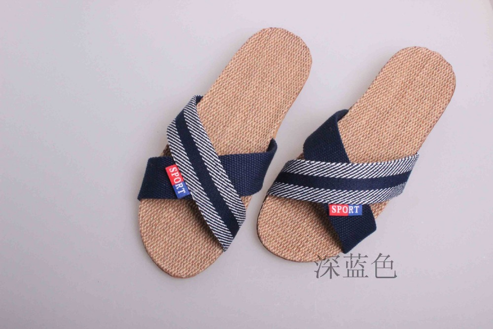 2016 New Home Stripes Cross Flax Slippers Fashion Women Linen Slippers High quality Summer Indoor Shoes<br><br>Aliexpress