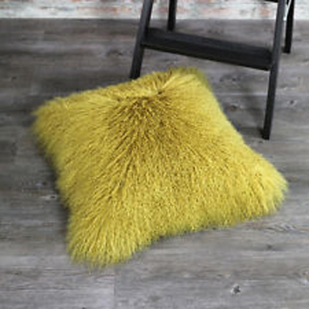 Yellow Mongolian Lamb Fur Pillow Cover Decorative Throw