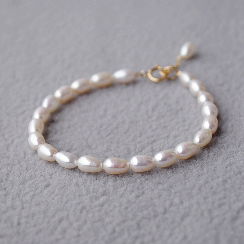 Lii Ji Natrual AA+ Freshwater Pearl 925 sterling silver 18K Gold Anklets Women Gift(China (Mainland))
