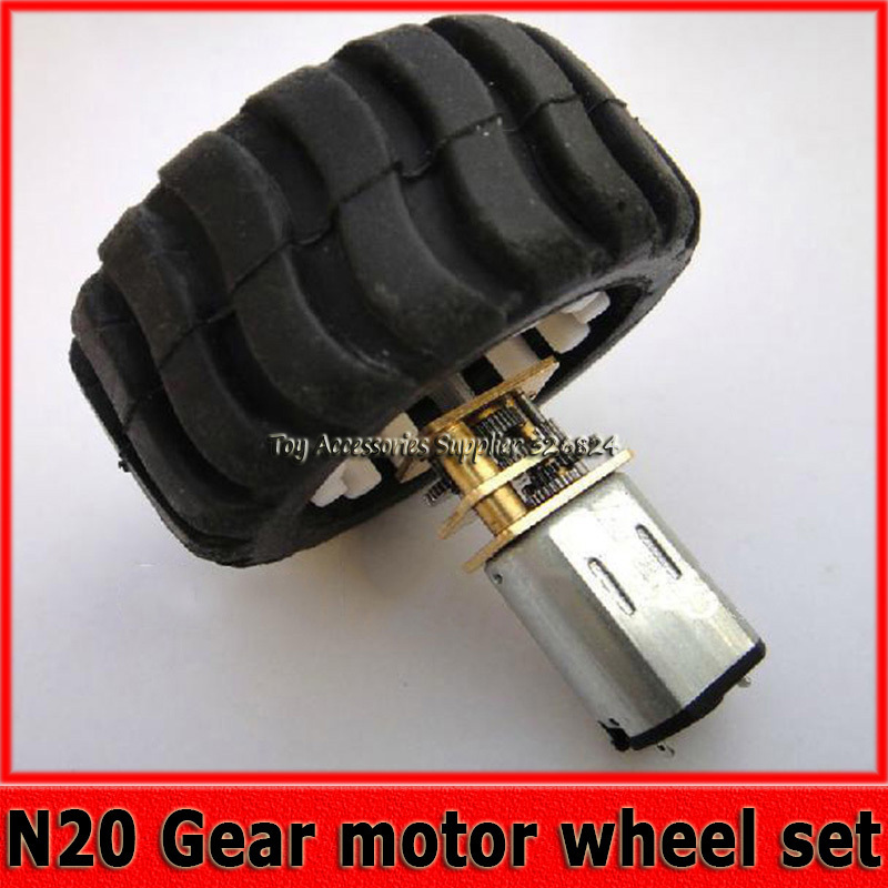N20 Gear Motor Rubber Wheel Set Robot Smart Car Motor with Metal Gearbox Micro Motor(China (Mainland))