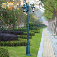 Antique blue color 3 heads garden pole lamp led road lighting villa courtyard aluminum light fitting waterproof 220v/110v 2.1M(China (Mainland))