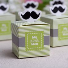 Moustache Paper Gift Box Candy Boxes Baby Shower Decorations for Guests Thanks Gift Bags Event & Party Supplies(China)