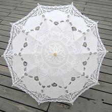 Merletto di modo ombrello di cotone ricamo sposa umbrella bianco avorio battenburg lace parasol umbrella umbrella nozze decorazioni(China (Mainland))