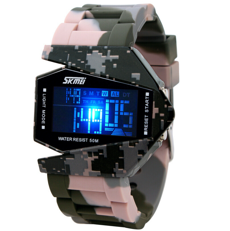 Гаджет  Skmei Camouflage Airplane Shaped Men Sports Watches 5ATM Waterproof Digital Watch LED Colorful Light Unisex Student Wristwatches None Часы