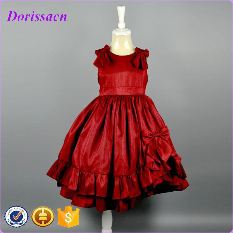 Elegant Red Flowers Satin Bodice Layered Sleeveless Ball Gown Dress Children Clothing Baby Girl Dress Party Dress Set Kids Wear<br><br>Aliexpress