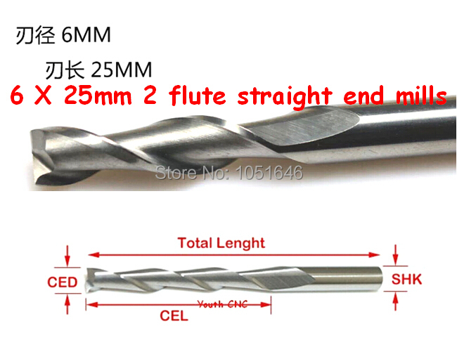 Free Shipping, 10pcs/ lot high quality 6mm 2 flute straight end mills, 6 x 25mm two flute straight mill bits(China (Mainland))
