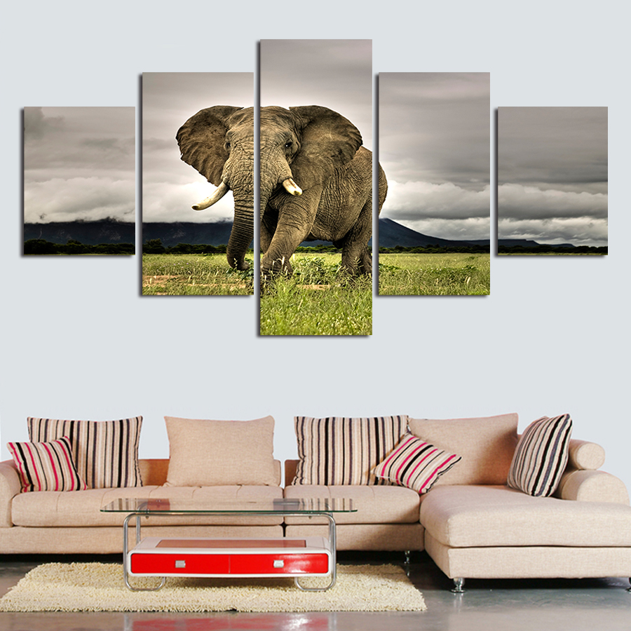 5 Pieces Wall Painting Free Shipping popular Hot Sell Animals elephant Modern Painting Wall Art Picture Paint on Canvas Prints(China (Mainland))