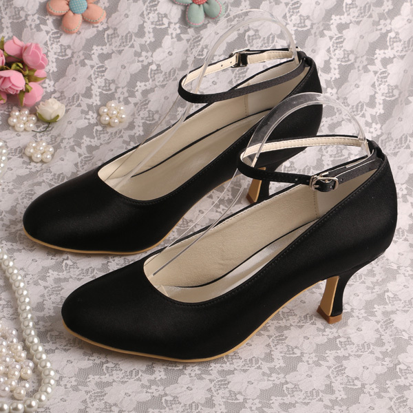 Bride Collections Ankle Strap Black Formal Shoes Mid Heel Women Pumps Dropshipping<br><br>Aliexpress