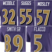 Wholesale Price Men's Joe Flacco 5# C.J. Mosley 57# Steve Smith Sr 89# Eric Weddle 32# Terrell Suggs 55# Purple Color Rush Limit(China (Mainland))