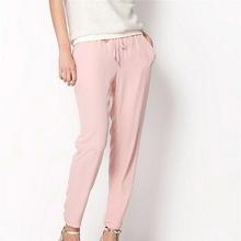 2016 Hot Sale Women Trousers High Quality Chiffon Pants Casual Slim Drawstring Waist Pants Summer Spring White /Pink Women Pants