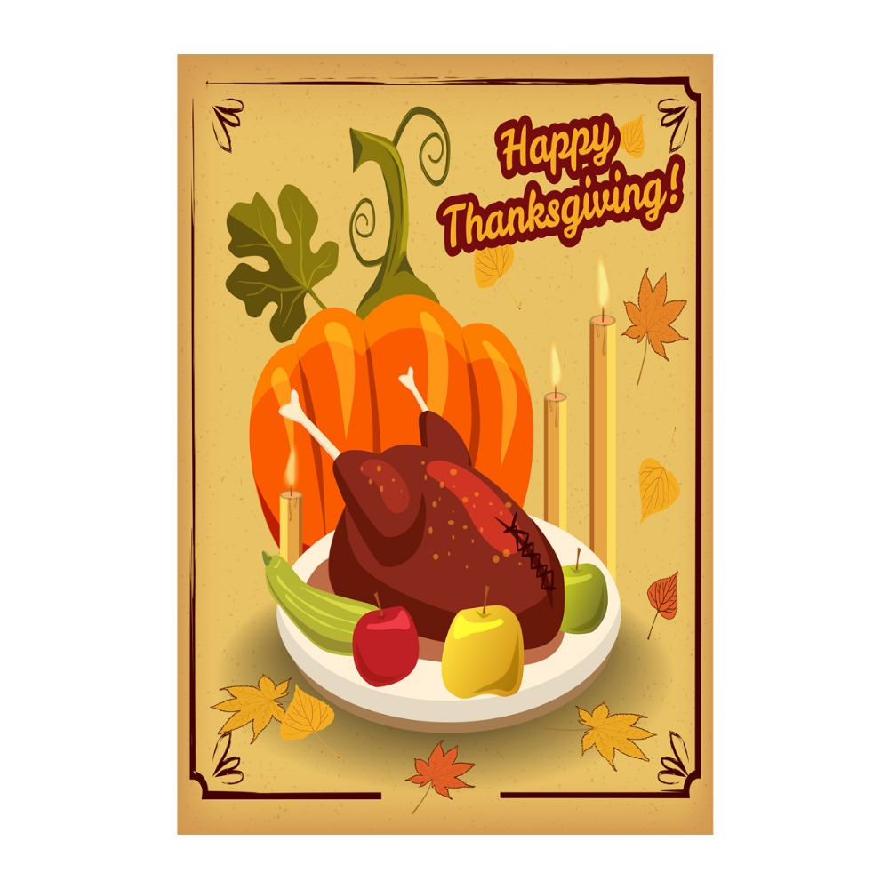 Thanks Giving, Turkey, Pumpkin, Candles Designed With Double Sided Decorative Outdoor Flags Custom Garden Flags Home Banner Flag(China (Mainland))