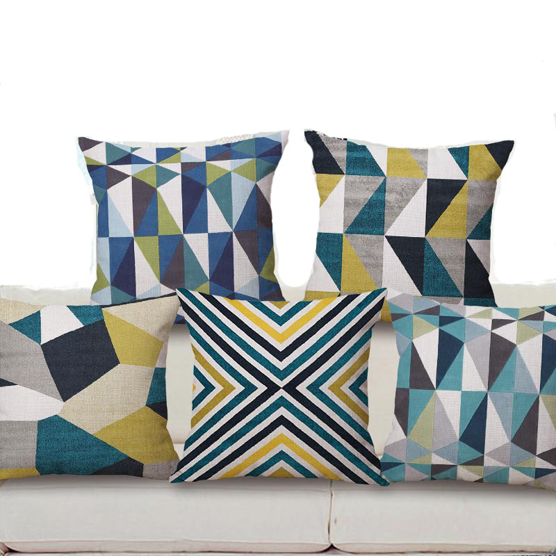 Throw Pillow Covers Jysk : Aliexpress.com : Buy 45X45CM Linen Cushion Cover Geometric Style Throw Pillow Case Cover ...