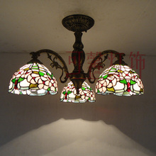 American rustic tiffany ceiling lamp bedroom light living room lights restaurant lamp 3 iron ceiling light(China (Mainland))