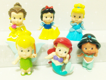 Princess Doll Toys Collection For Children Girls Party Birthday Decoration PVC Action Figures Christmas Gift 6pcs/Set 5cm