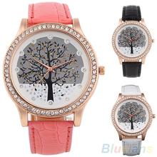 Women Tree Dial Rhinestone Inlaid Golden Tone Case Faux Leather Band Wrist Watch 2MPX 48AV