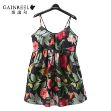 Sweet song Riel brand fashion printed cotton pajamas men and women couple home service package cozy