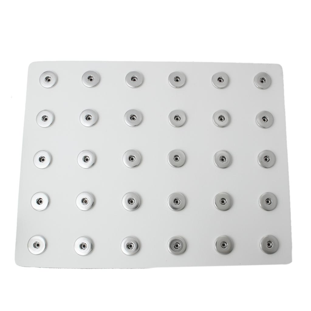 Jewelry Button Display Board Rectangle White Silver Tone Fit Thirty Snap Buttons 27x21cm,Snap Hole Size:6mm,1 Sheet 2015 new(China (Mainland))