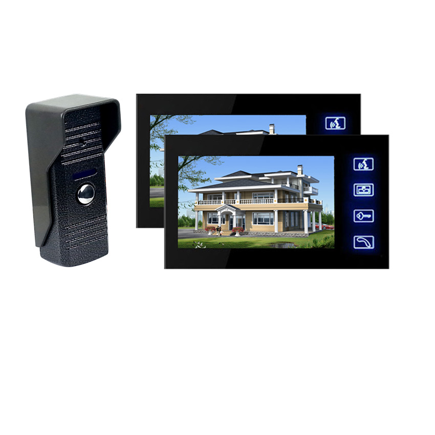 7 inch color cable home video intercom doorbell / touch button with a two / night vision video doorbell(China (Mainland))