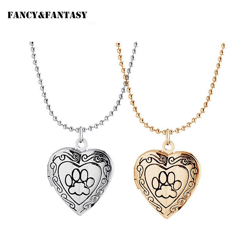 Lovers' Romantic Necklace Pet Dog Paw Charm Pendant Box Photo Locket Women Necklace Collar Heart Shape Jewelry Valentines Gift(China (Mainland))