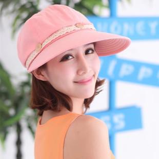 2015 Fashion girl sun hat beautiful women cloth hat Leisure beach hat lovely bownot sun hat girl student cap free shipping(China (Mainland))