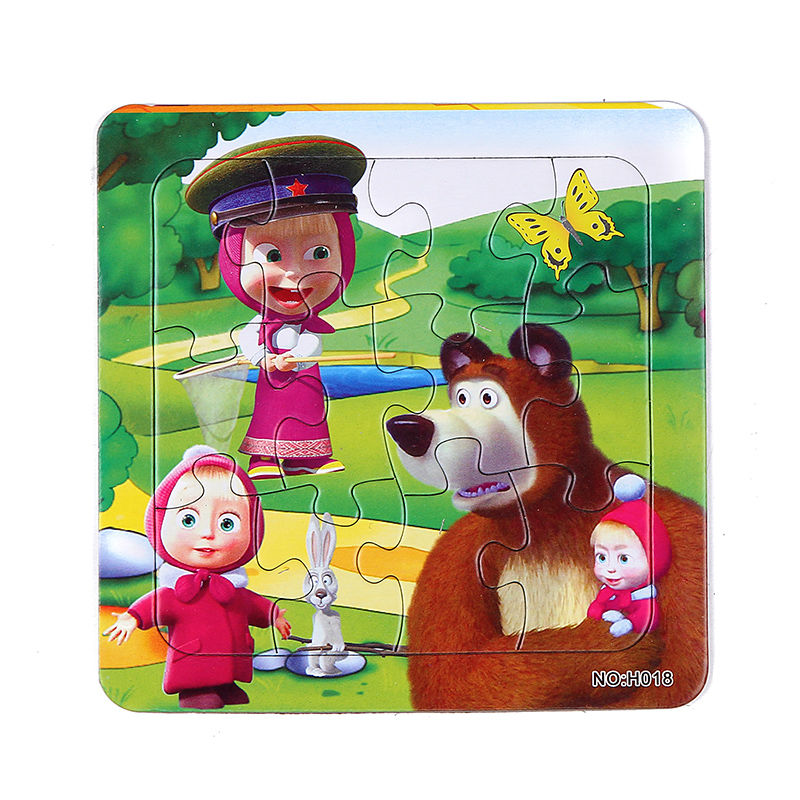 3pcs/Lot Paper jigsaw puzzles for children kids toys Masha and Bear toys for children Baby toys educational Puzles 14*14CM(China (Mainland))