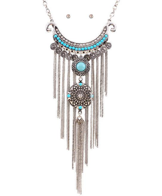 2016 New Bohemian Vintage Necklace Antique Silver Turquoise Jewelry Long Tassel Necklace Statement Necklace For Women 3N396(China (Mainland))